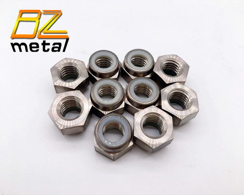 Titanium Alloy Self Lock Nuts  with Nylon Insert According to Standard DIN 985