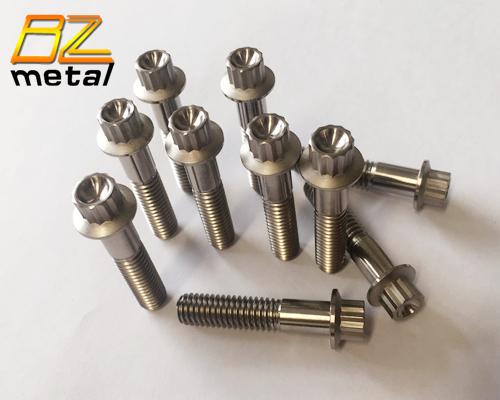 Gr5 Ti6Al4V Titanium flange 12 point hex socket bolts for Motorcycle